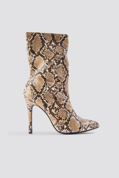 separation shoes e14a9 b3397 NA-KD Shoes High Heel Snake PU Stiletto Boot - Brown,Multicolor