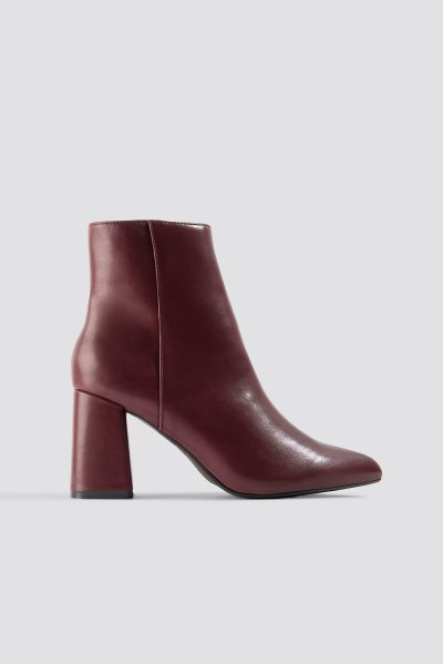 5001453288b NA-KD Shoes Basic Block Heel Booties - Red